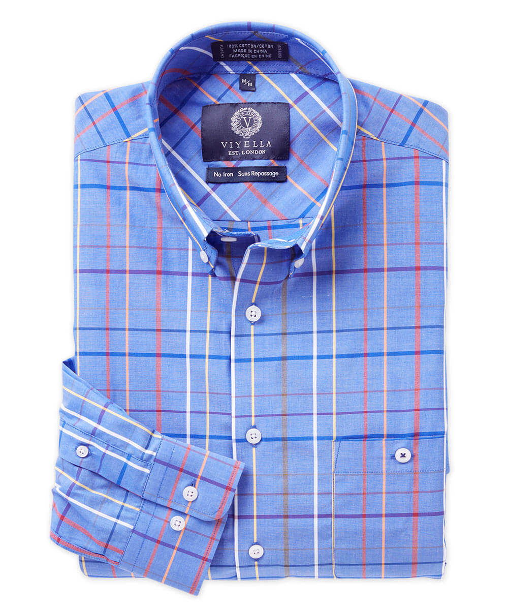 Viyella Non-Iron Cotton Plaid Long Sleeve Sport Shirt