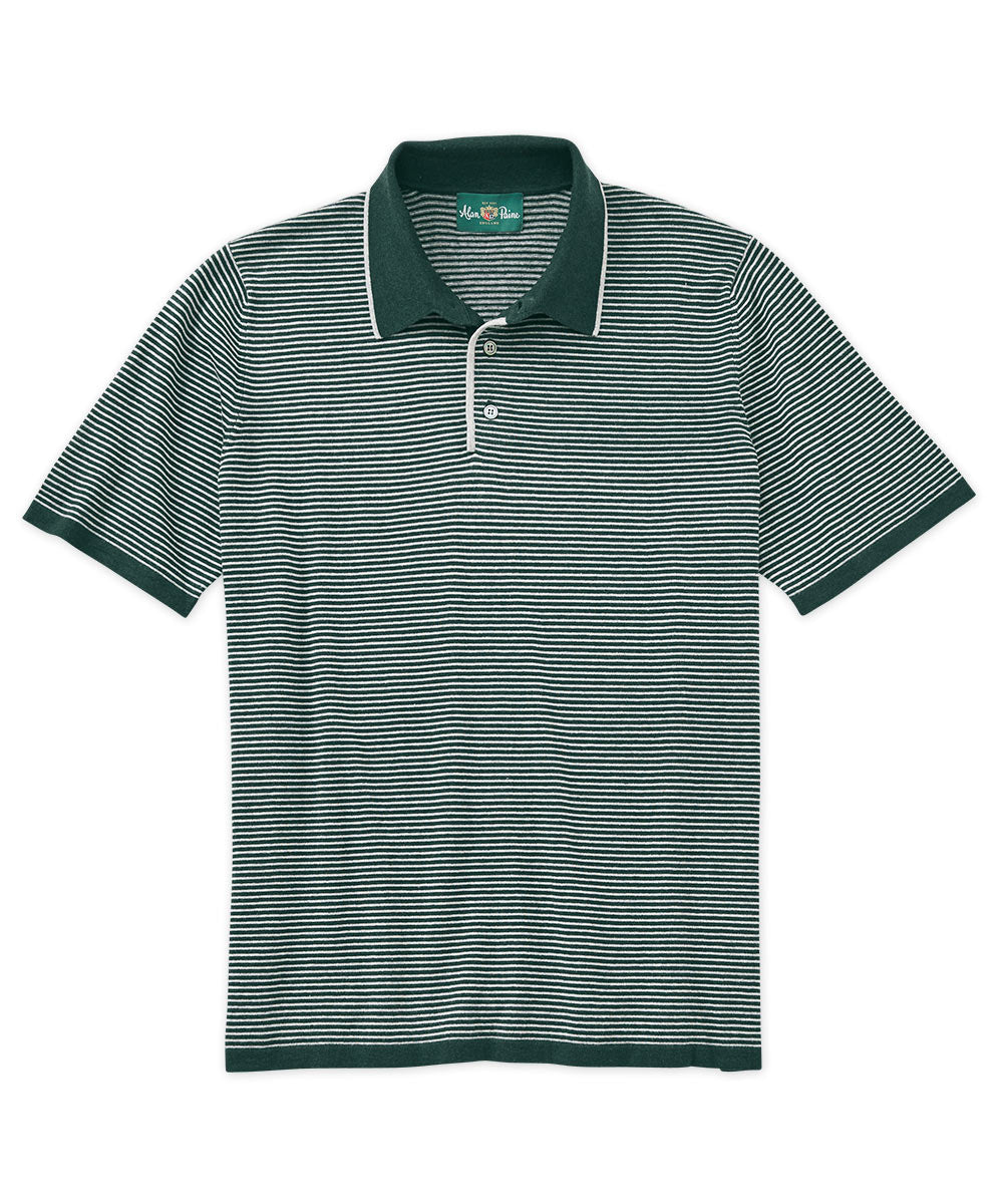 Pima-Silk-Cashmere Stripe Short Sleeve Polo Shirt
