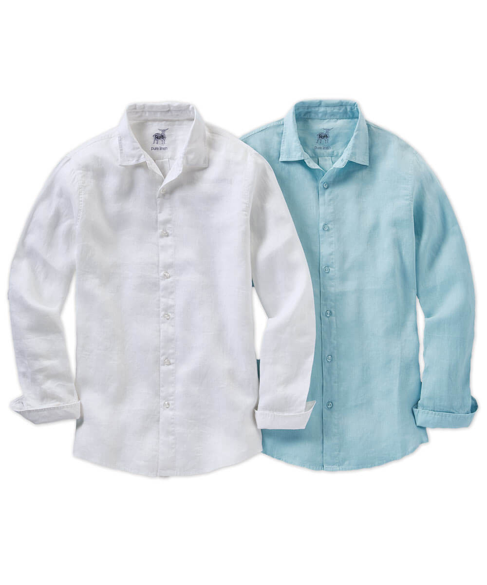 Raffi Solid Linen Long Sleeve Sport Shirt