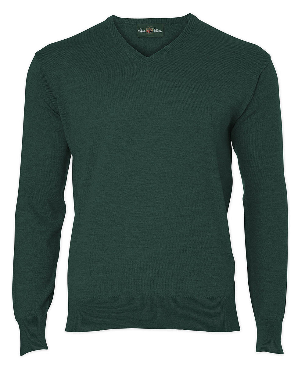 Alan Paine Millbreck Washable Merino Wool V-neck Sweater