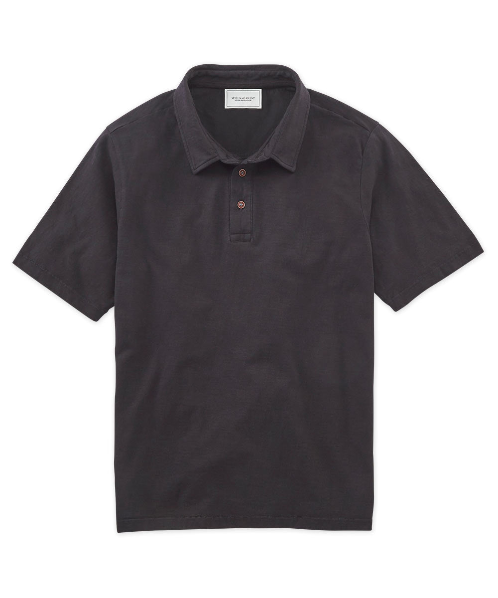 Solid Slub Cotton Short Sleeve Polo Shirt