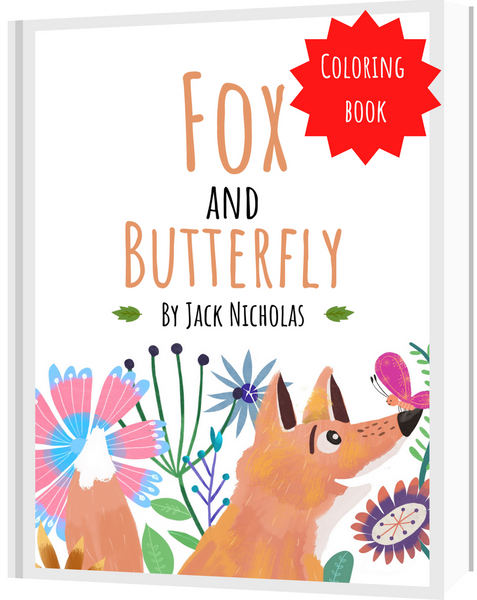 Fox and Butterfly. Original illustrated children's book by Jack Nicholas. Illustrated by Annie Wilkinson coloring book