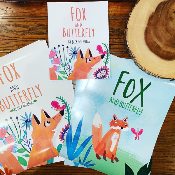 Fox and Butterfly Poster