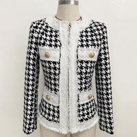 Autumn Winter Jacket Women High Quality Round O-Neck Zipper Long Sleeve Houndstooth Mustache Tweed Jacket  Short Coat