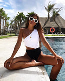 2020 Black And White Spliced Bikini Two Peice Set Sexy Generous Zipper Swimming Suit High Waist Hollow Out Bikini Swimming Suit