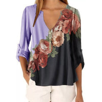 2020 New Summer Short Sleeve Shirt Sexy V-neck Floral Print Tops Blouse Fashion Casual Shirt