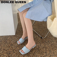2020 Square Toe Slippers Women Peep Toe Med Heel 4cm Slides Summer Shoe Women Embroidery Mule Massage Outsole Slipper Size 35-41