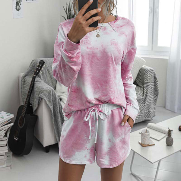 2020 Women's Pajamas Tie Dye Lounge Wear Loungewear Women Pajamas Set Tie Dye Sleep Set  Lounge Set Long Sleeve Sleepwear Women