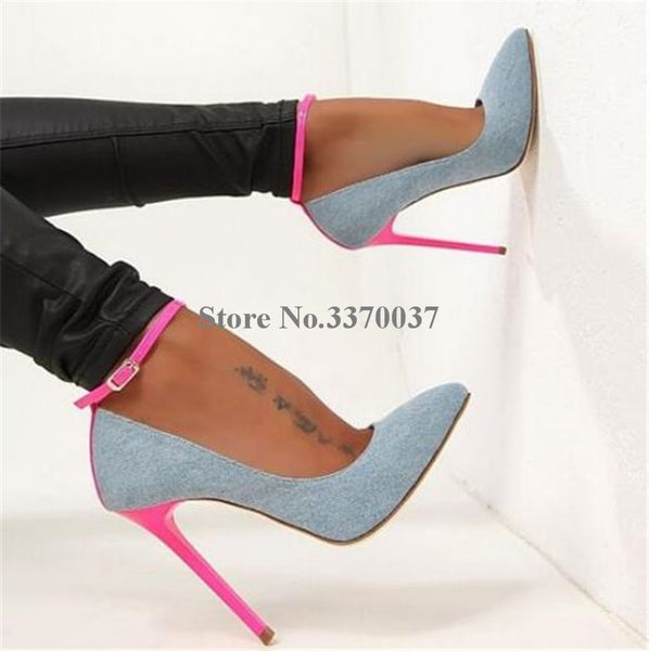 Brand Design Women Fashion Pointed Toe Patent Leather Stiletto Thin Heel Pumps Ankle Strap Super High Heels Club Shoes