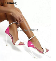 Brand Women Fashion Open Toe Patent Leather One Strap Stiletto Heel Sandals Sexy Ankle Strap Super High Heel Sandals Club Shoes