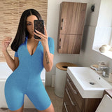 Casual Bodycon White Playsuit Summer Solid Jumpsuit Rompers Womens Short Sleeve Bodysuit Biker Shorts Joggers Femme Plus Size