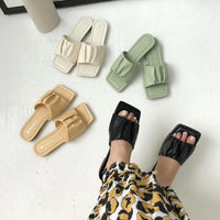 Fashion Women Slippers Square Open Toe Slippers Flats Slip On Casual Slides Flip Flops Summers Beach Shoes Outdoor Flats Fashion