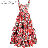 Fashion Designer Runway Ball Gown Dress Summer Women Spaghetti strap Backless Floral Print Cascading Ruffle Beach Dress