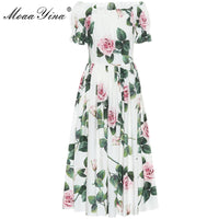 Fashion Designer dress Spring Summer Women's Dress Puff sleeve Rose Floral-Print Vacation Cotton Dresses