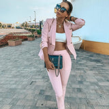 Office Ladies women's pantsuit Red Pink Business Classic Double-breasted Buttons Nine Blazer Pants Set Two Piece Formal Suits