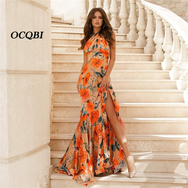 Plus Size 2020 Women Summer Dress Sexy Vintage Party Dresses Elegant Print Bodycon Maxi Dress