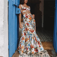 Plus Size 3XL Women Summer Bohemian Beach Print Dress Sexy Party Night Elegant Maxi White Dress