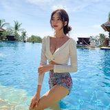 Sexy Swimsuit Swimwear Women Two piece swimsuit for bathing suit High waist bikini Set push up swimwear Long sleeve female swim