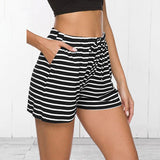 Sleep Bottoms Women Drawstring Striped Daily Outwear Pajama Pants Summer Shorts Bodybuilding Breathable Female Casual Slim