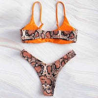 Snakeskin Thong Bikini Set Women 2020 Push Up Separate Swimsuit Female Swimwear String Bikini Swimming Suit Tankini Bathing Suit