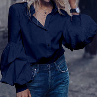 Top Fashion Celmia Women Long Puff Sleeve Blouses 2020 Lapel Buttons Casual Shirts Loose Solid Party Work Blusas Mujer Plus Size