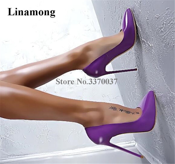 Women Classical Style Charming Patent Leather Stiletto Heel Pumps Pink Purple Pointed Toe High Heels Evening Club Shoes