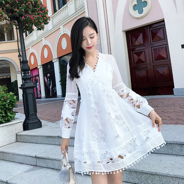 Free Return spring autumn Sexy Deep V Neck Lace beach mini dress sukienki Patchwork Embroidery Party Dress Vestidos verano robe femme jurken