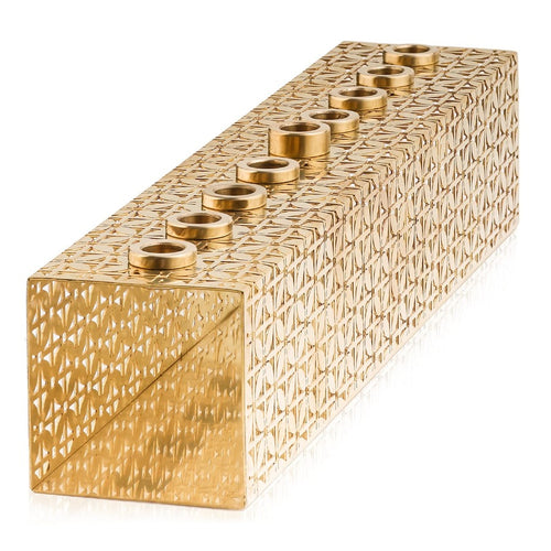 Menorah Art Deco golden eached brass new collection by lev shneiderman