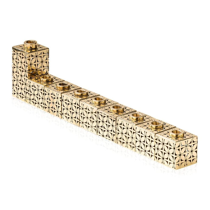 Contemporary Art Deco Brass blocks Menorah NEW Design for 2020 by Lev Shneiderman