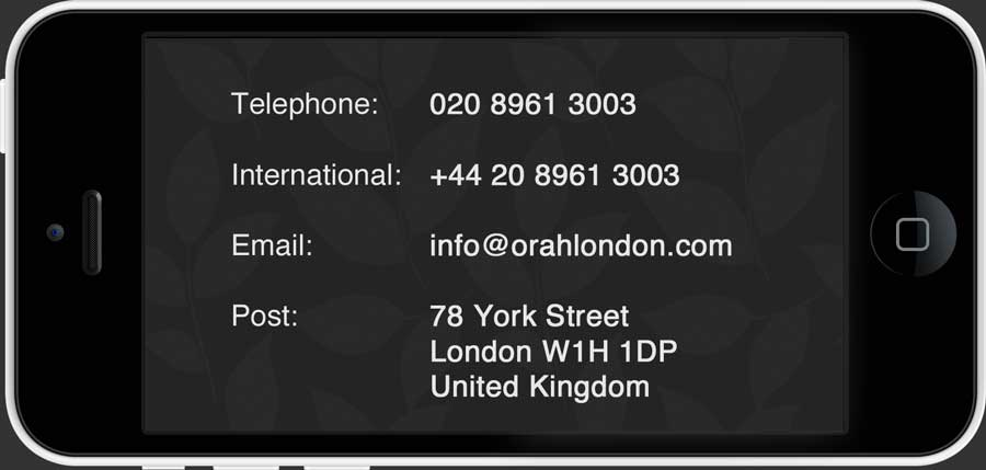 Orah London Contact Us