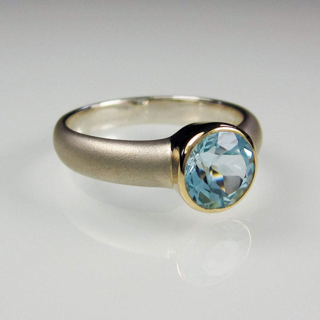 Orah London Gold Aphrodite ring with Blue Topaz