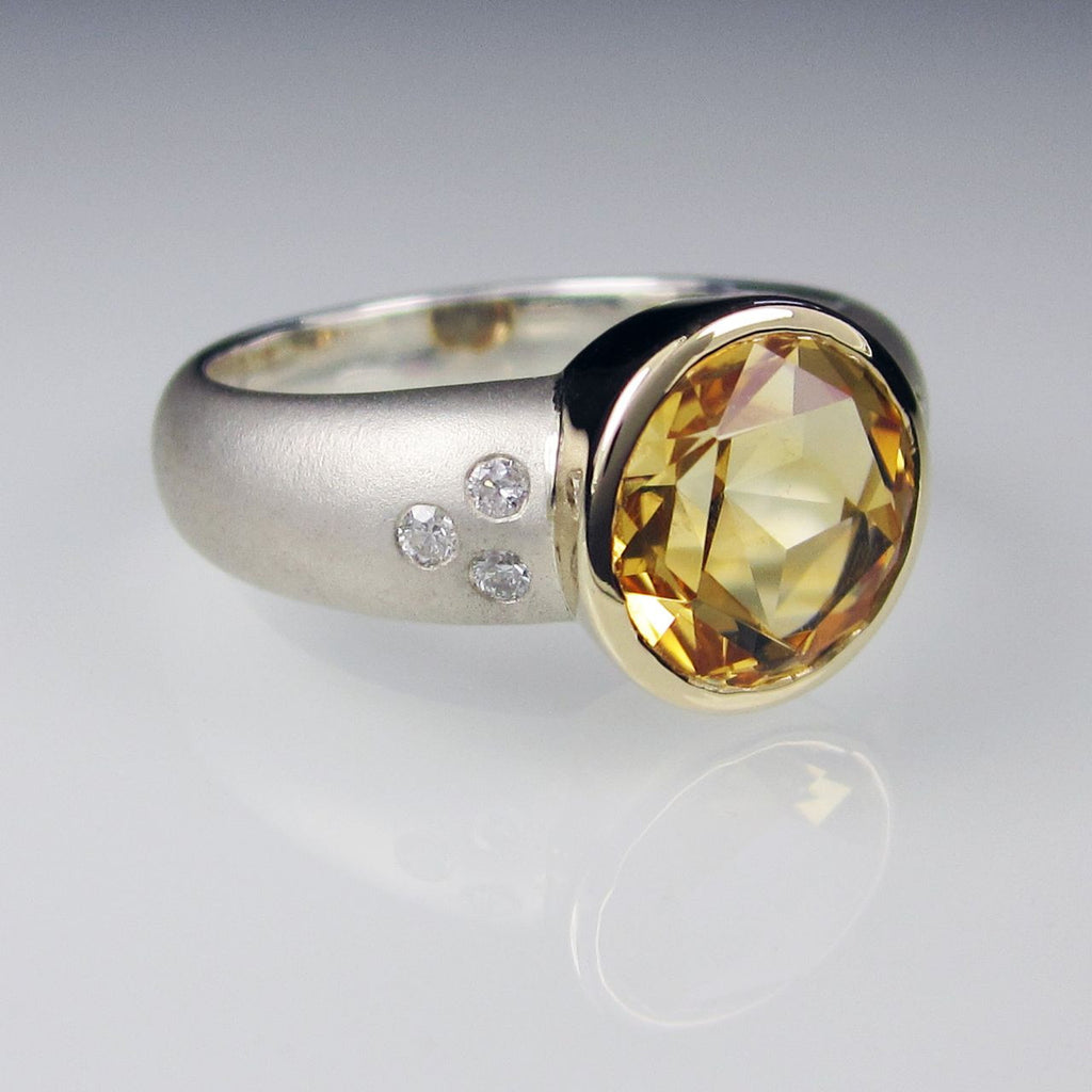 Orah London Gold Athena ring with Citrine and Diamonds