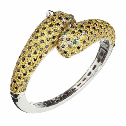 Golden Leopard Bracelet - Slim (pink eyes)
