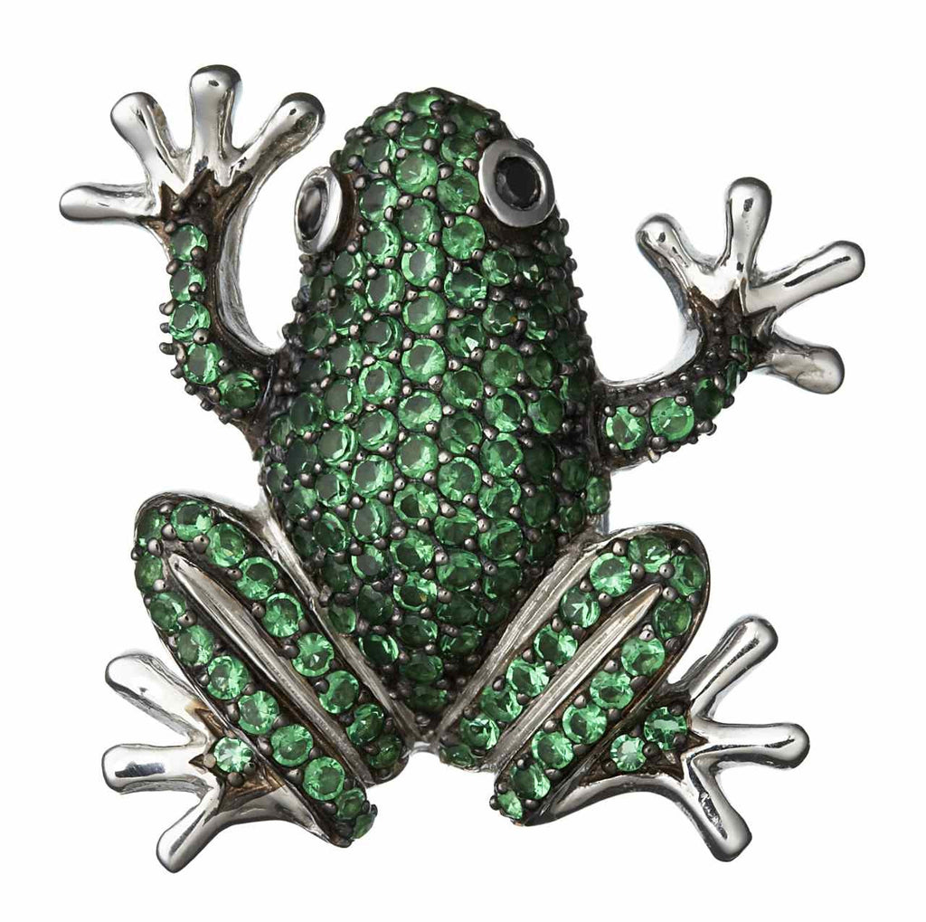 Orah London Green Frog Pendant-Brooch