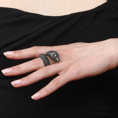 Orah London Black Leopard Ring