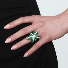 Orah London Green Starfish Ring