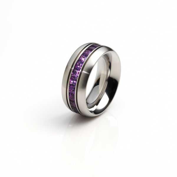 Orah London steel eternity ring with amethyst.