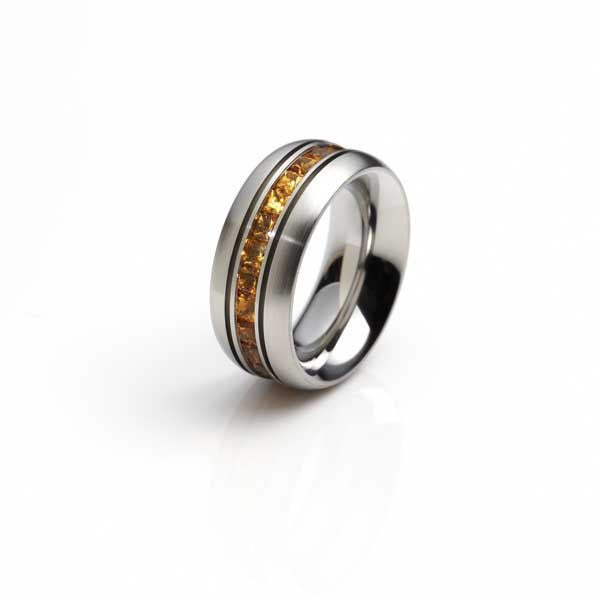 Orah London steel eternity ring with citrine