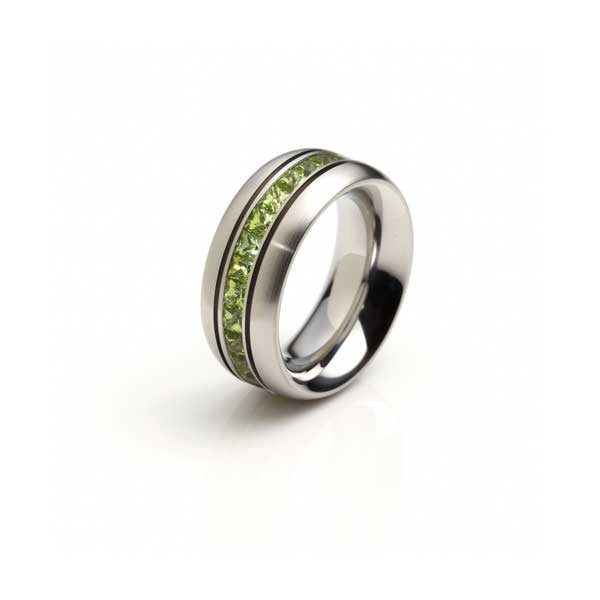 Orah London steel eternity ring with peridot