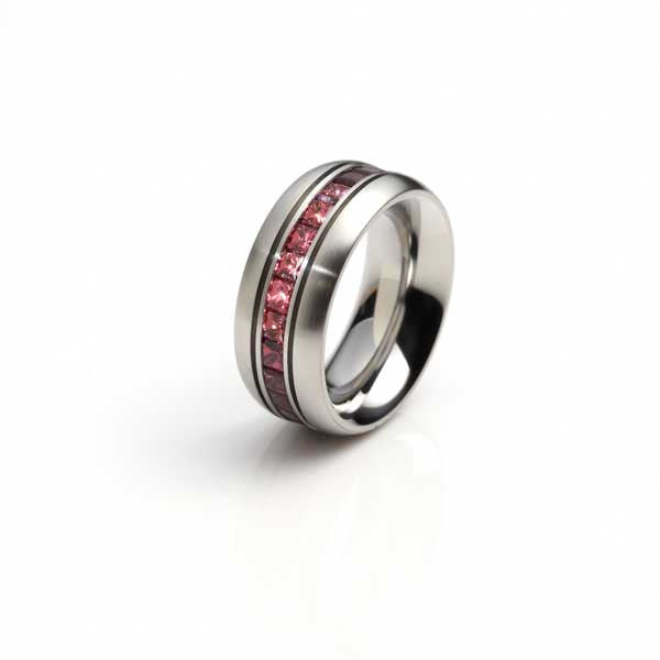 Orah London steel eternity ring with rhodolite.