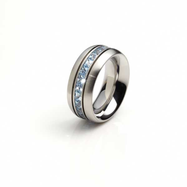 Orah London steel eternity ring with blue topaz