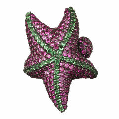 Orah London Pink and Green Starfish Ring