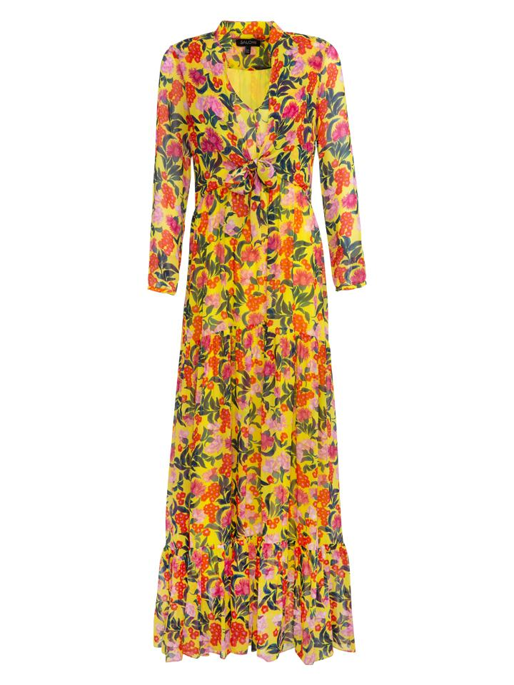 Load image into Gallery viewer, Alexia Tie Maxi Silk Dress