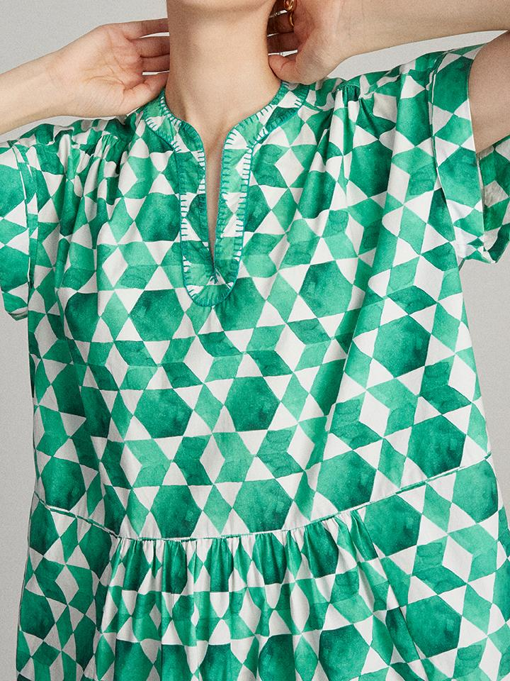 Load image into Gallery viewer, Ashley Dress in Emerald Tiles