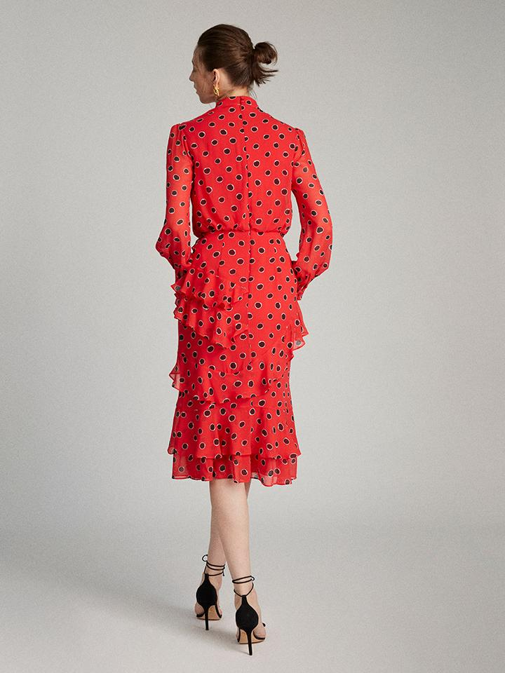 Load image into Gallery viewer, Isa Ruffle Dress in Carmine Dots