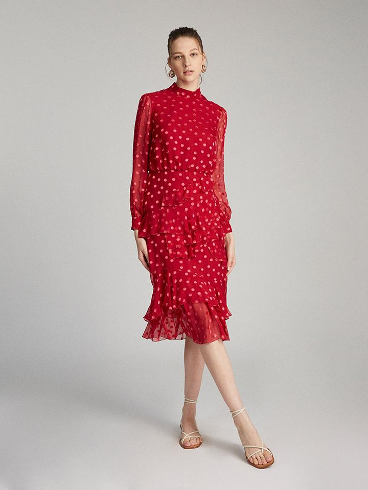 Load image into Gallery viewer, Isa Ruffle Dress in Rouge