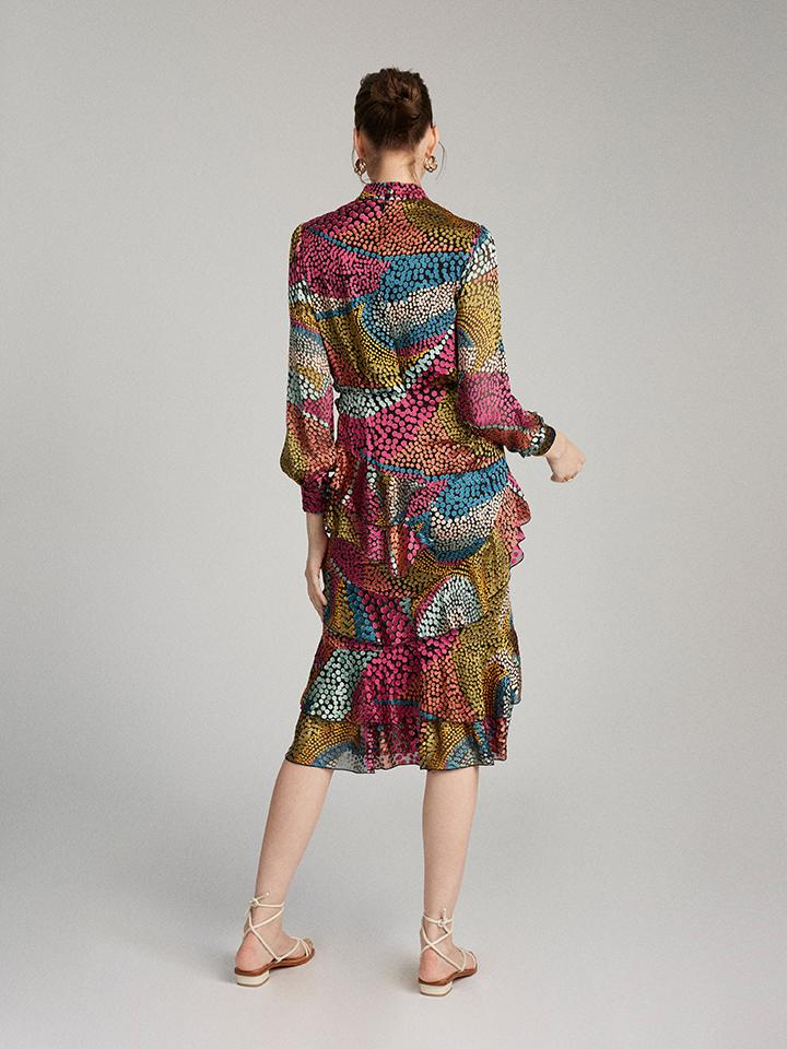 Load image into Gallery viewer, Isa Ruffle Dress in Multi Wavy Dotty