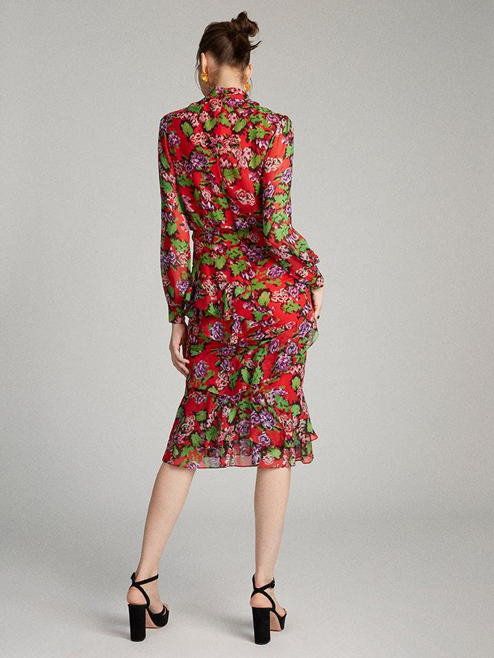 Load image into Gallery viewer, Isa Ruffle Dress in Cherry Damask