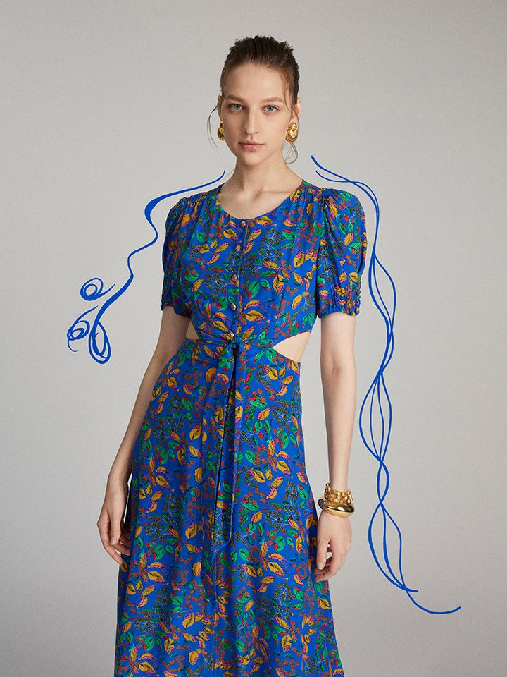 Load image into Gallery viewer, Lea Cutout Dress in Azure Berry Leaf