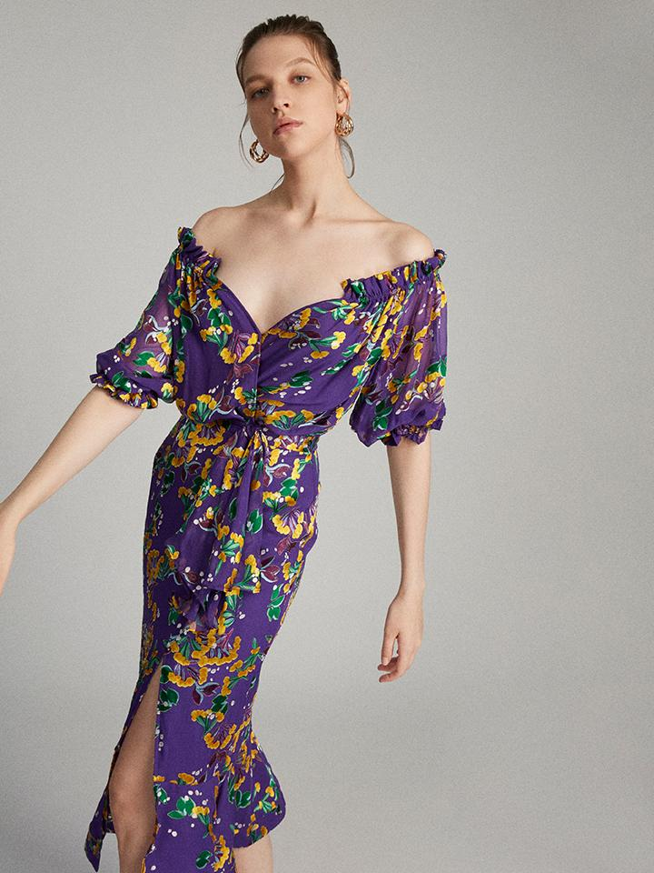 Load image into Gallery viewer, Olivia Dress in Violet Sweet Peas